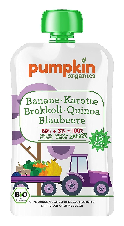 Pumpkin Organics 100g Bio Baby-Brei im Quetschbeutel aus Karotte - Brokkoli mit Banane - Blaubeere und Quinoa Babynahrung