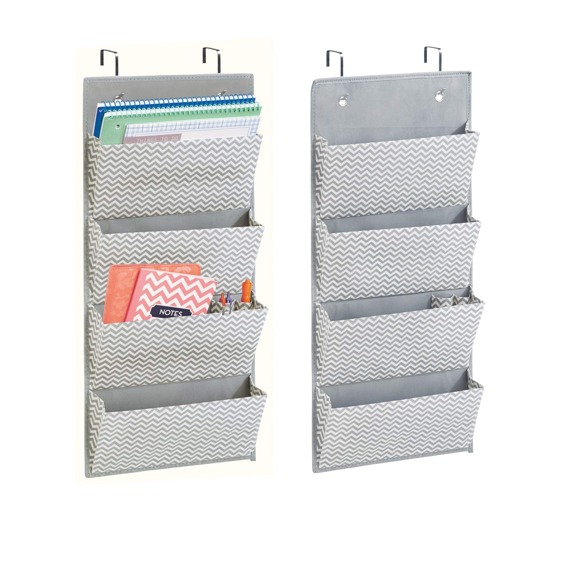 mDesign Hanging Fabric Office Supplies Storage Organizer for Notebooks, Planners, File Folders - Pack of 2, 4 Pockets, Gray/Cream