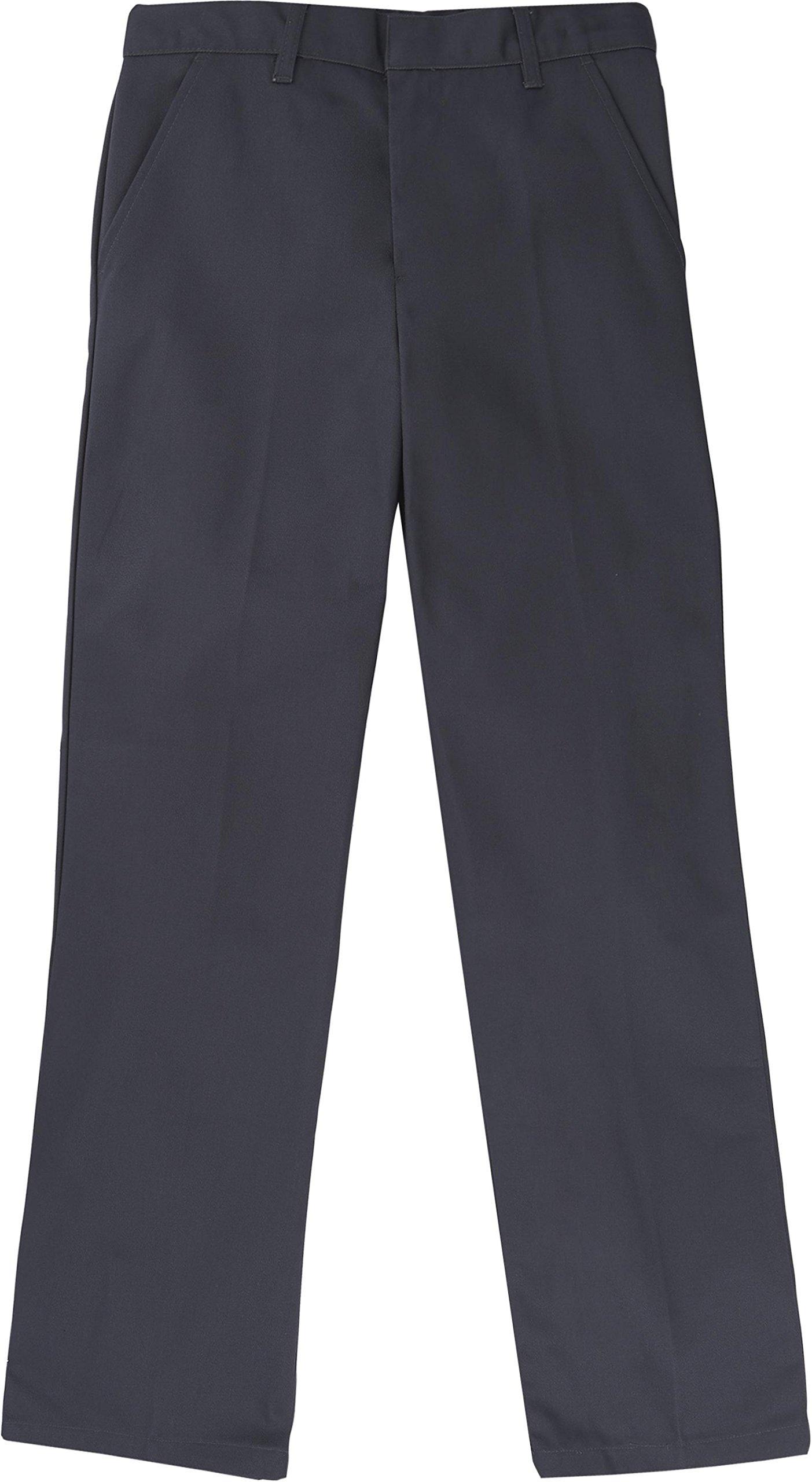 French Toast School Uniform Boys Adjustable Waist Flat Front Workwear Finish Double Knee Pants, Gray, 14 Slim