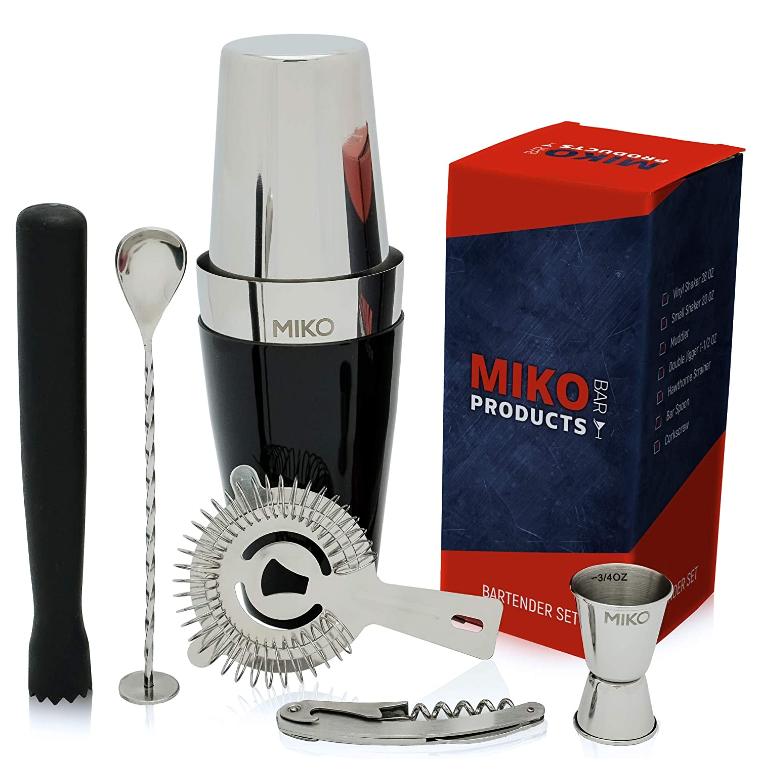 Professional Bartender Kit - Cocktail Shaker Bar Set - Includes Bar Tools & Bartender Accessories: Boston Cocktail Shaker,Muddler,Strainer,Jigger,Bar Spoon,Corkscrew and Bonus Recipes EBook MiKO MBK 0077