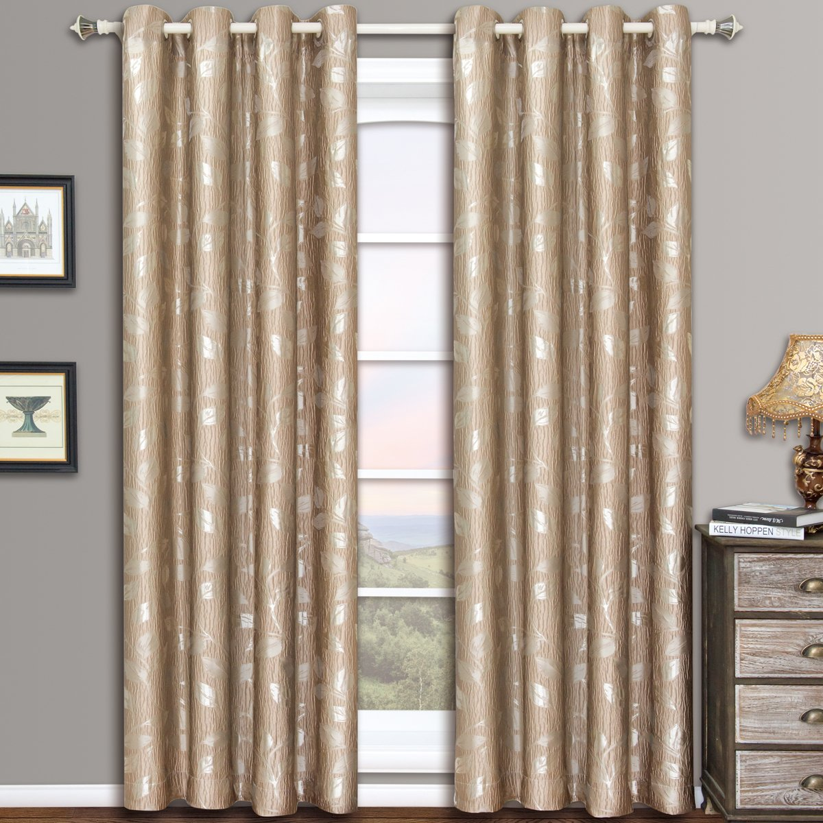 Charlotte Mocha Grommet Jacquard Window Curtain Panels, Pair / Set of 2 Panels, 52x84 inches Each, by Royal Hotel