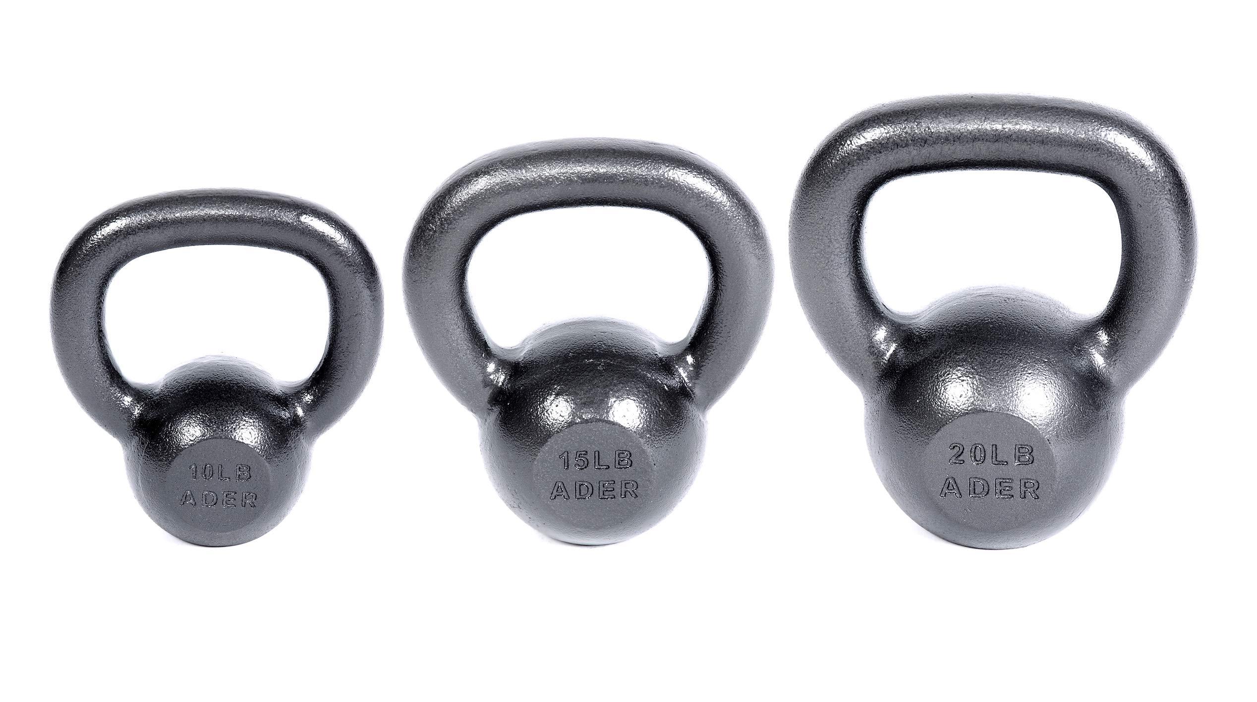Ader Premier Kettlebell Weights Set- (10, 15, 20 Lb) w/DVD