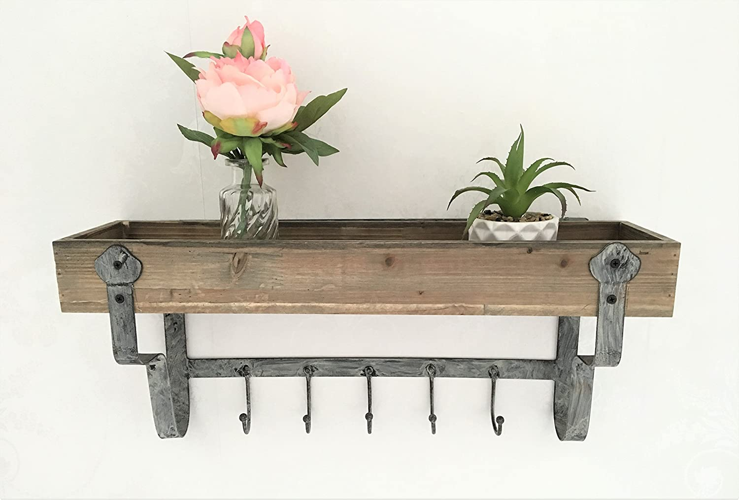 Wood & Metal Wall Shelf Unit Vintage Industrial Style Kitchen Towel Hook Storage Spice Rack Home Storage