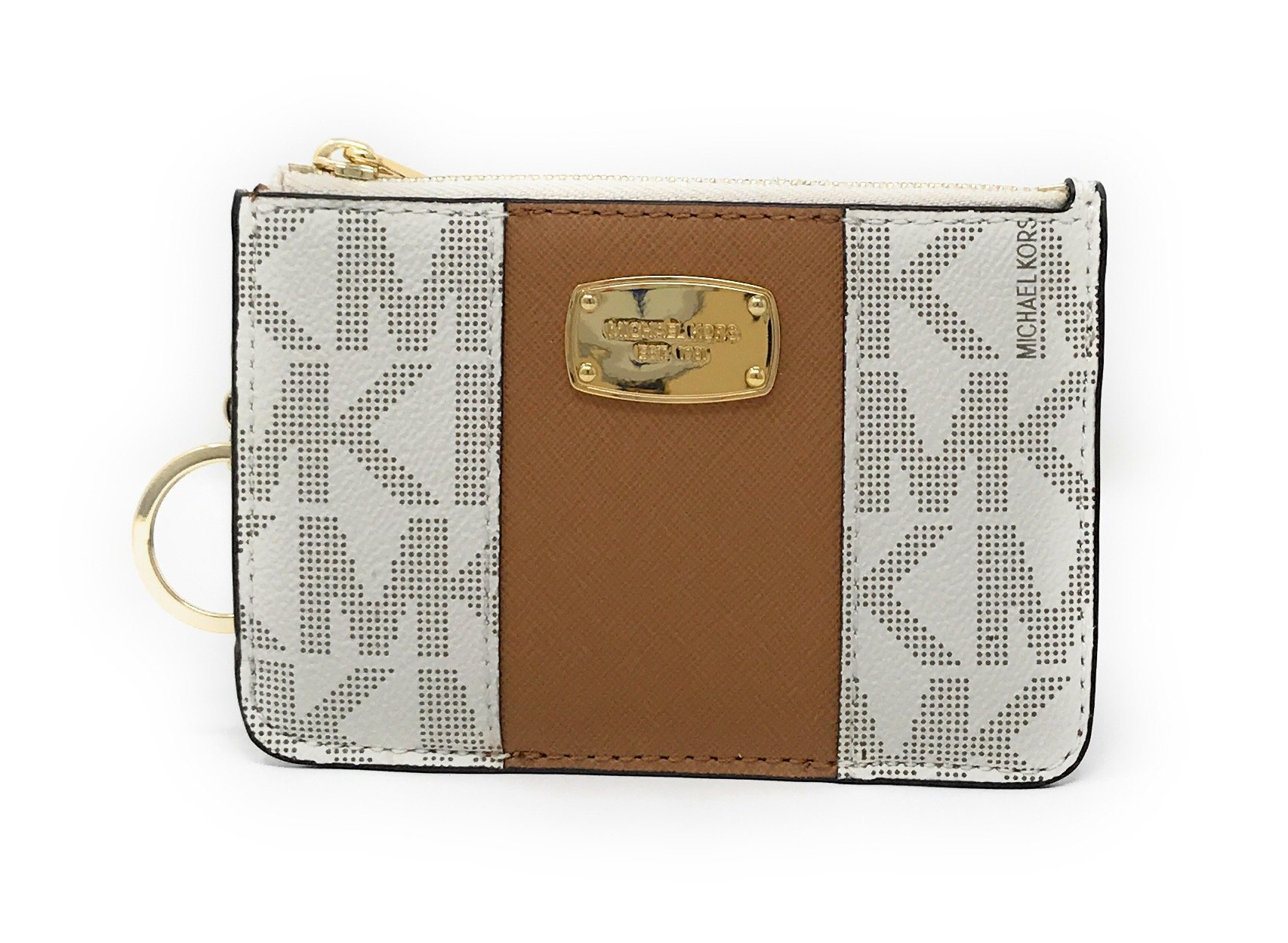 Michael Kors Center Stripe Small Top Zip Coin Pouch Card Case with ID Window, Vanilla/Acron