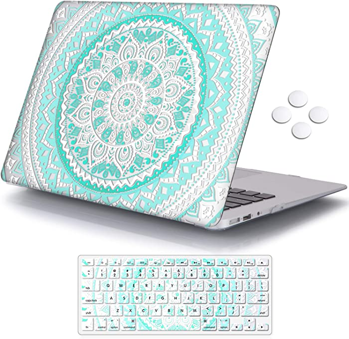 iCasso MacBook Air 13 inch Case (Release 2010-2017), Plastic Pattern Hard Shell Protective Case & Keyboard Cover Only Compatible with MacBook Air 13 Inch Model A1369/A1466 - Blue&White Medallion