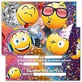 12 Lustige Einladungskarten im Set für Kindergeburtstag Party Emoji Smiley Disco für Jungen Mädchen Kinder Top Geburtstagseinladungen Karten witzig