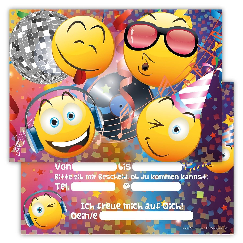 12 Lustige Einladungskarten Im Set Für Kindergeburtstag Party Emoji Smiley  Disco Für Jungen Mädchen Kinder Top