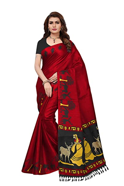 d3d0b279eb Radiance Star Women's Supeream Ethnic Wear Red Raw Silk Saree With Silk  Fabric Blouse: Amazon.in: Clothing & Accessories