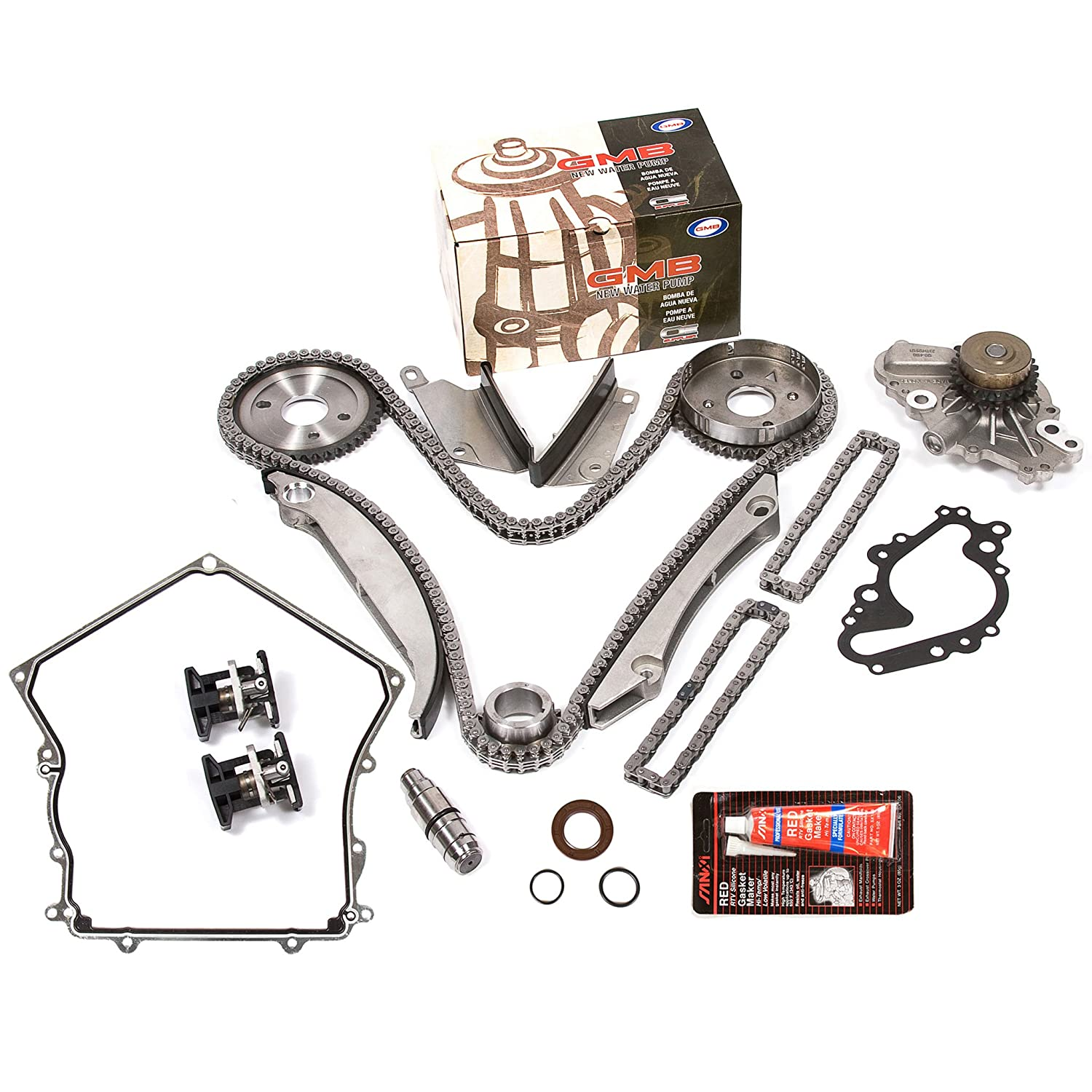 Evergreen TKTCS5028HWP 02-06 Chrysler Dodge V6 2.7L EER Timing Chain Kit GMB Water Pump (NGC Cam Gear) Timing Cover Gasket Evergreen Parts And Components