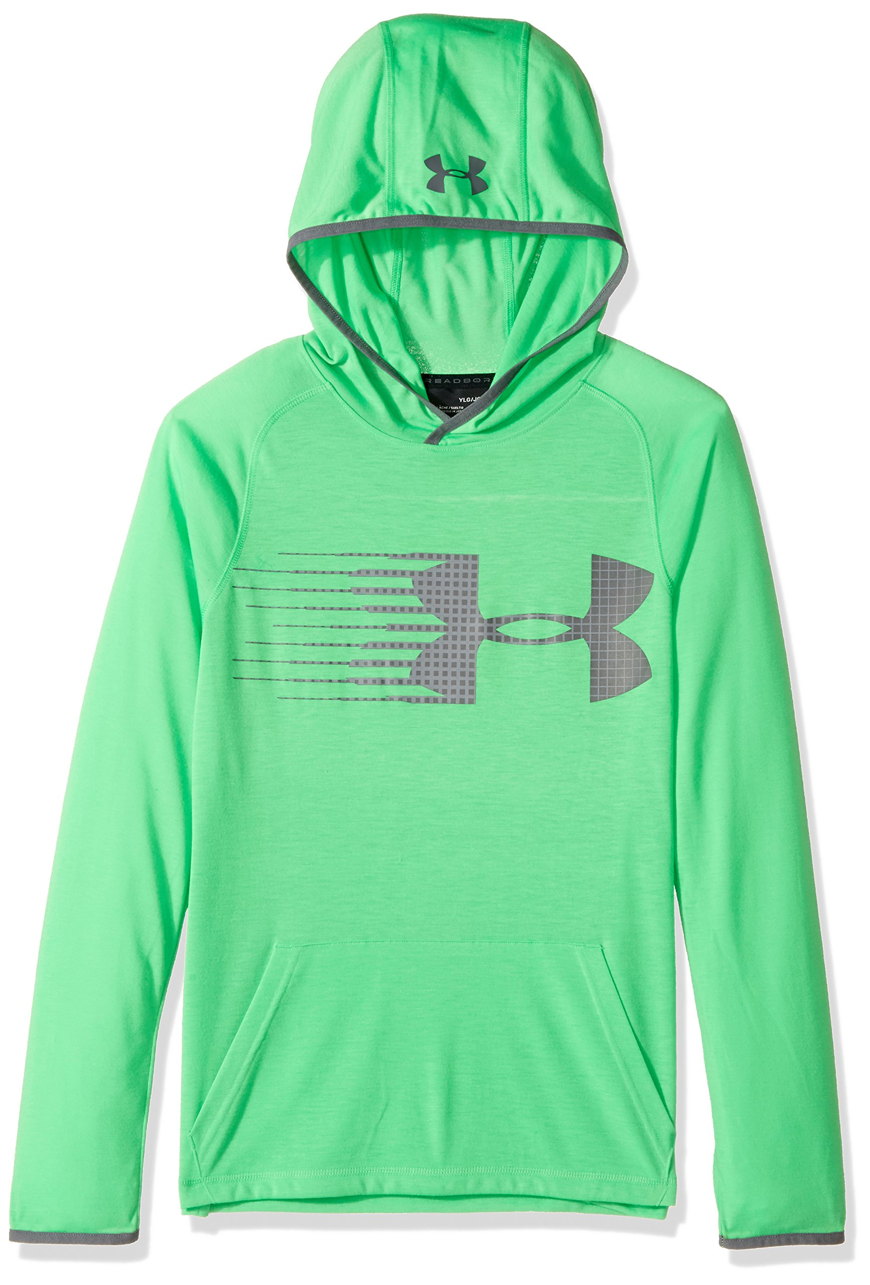 Under Armour Boys' Threadborne Hoodie,Lime Twist /Graphite, Youth Small