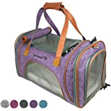 Mr. Peanut's Airline Approved Soft Sided Pet Carrier, Low Profile Luxury Travel Tote with Fleece Bedding & Safety Lock, Under Seat Compatability, Perfect for Cats and Small Dogs