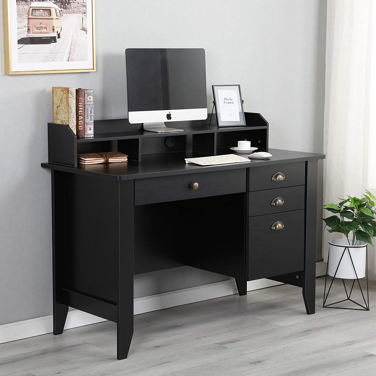 Amazon com executive desk 47 office desk pc laptop home office study writing table with four drawers wood grain black kitchen dining