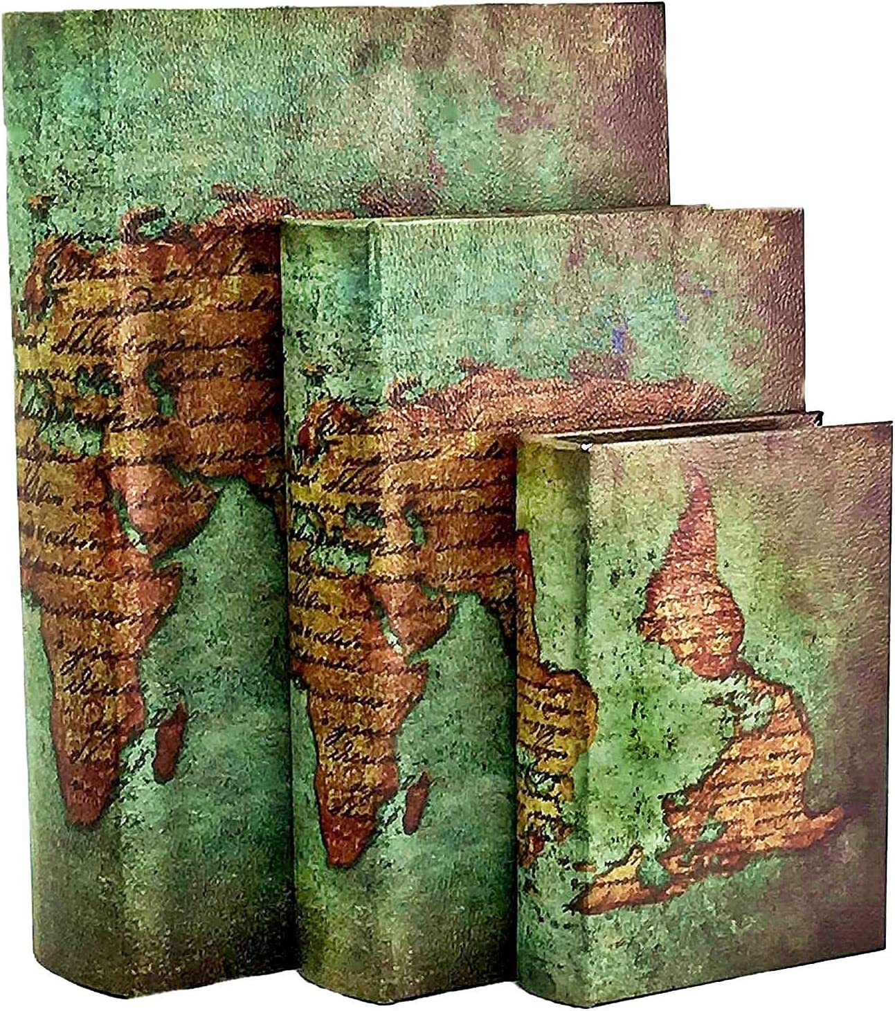 Bellaa 28007 Decorative Book Boxes World Map Pattern Antique Book Invisible Box with Magnetic Cover Faux Wood Set of 3 Storage Set Ancient