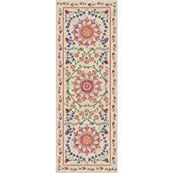 """RUGGABLE Suzi Coral Washable Indoor/Outdoor Stain Resistant 2.5'x7' (30""""x84"""") Runner Rug 2pc Set (Cover and Pad)"""