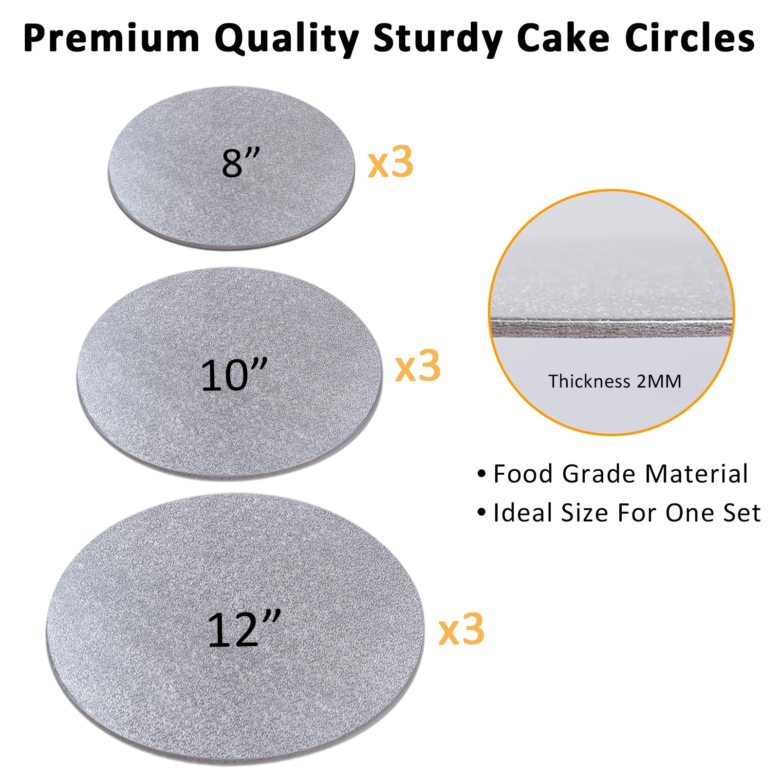 Cake Boards Sliver Foil Round Cake Circles 8, 10, 12 Inch Cake Base Cardboard, 3 of Each Size Set, with 2pcs Plastic Scrapers for Baking Cake (12 Pack)