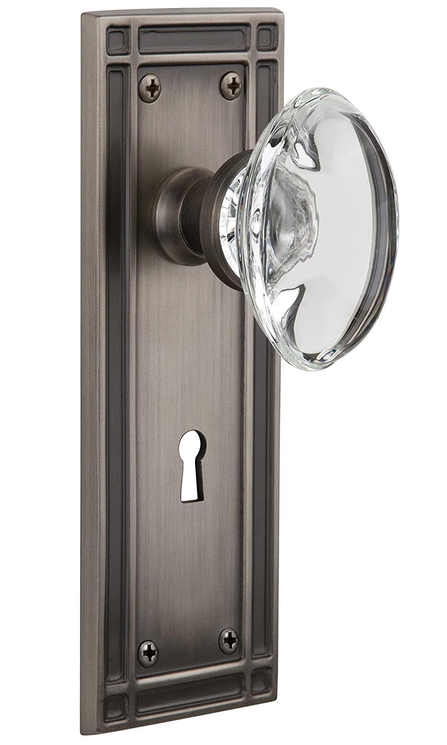 Passage Antique Pewter 2.75 Nostalgic Warehouse Mission Plate with Keyhole Oval Clear Crystal Glass Knob