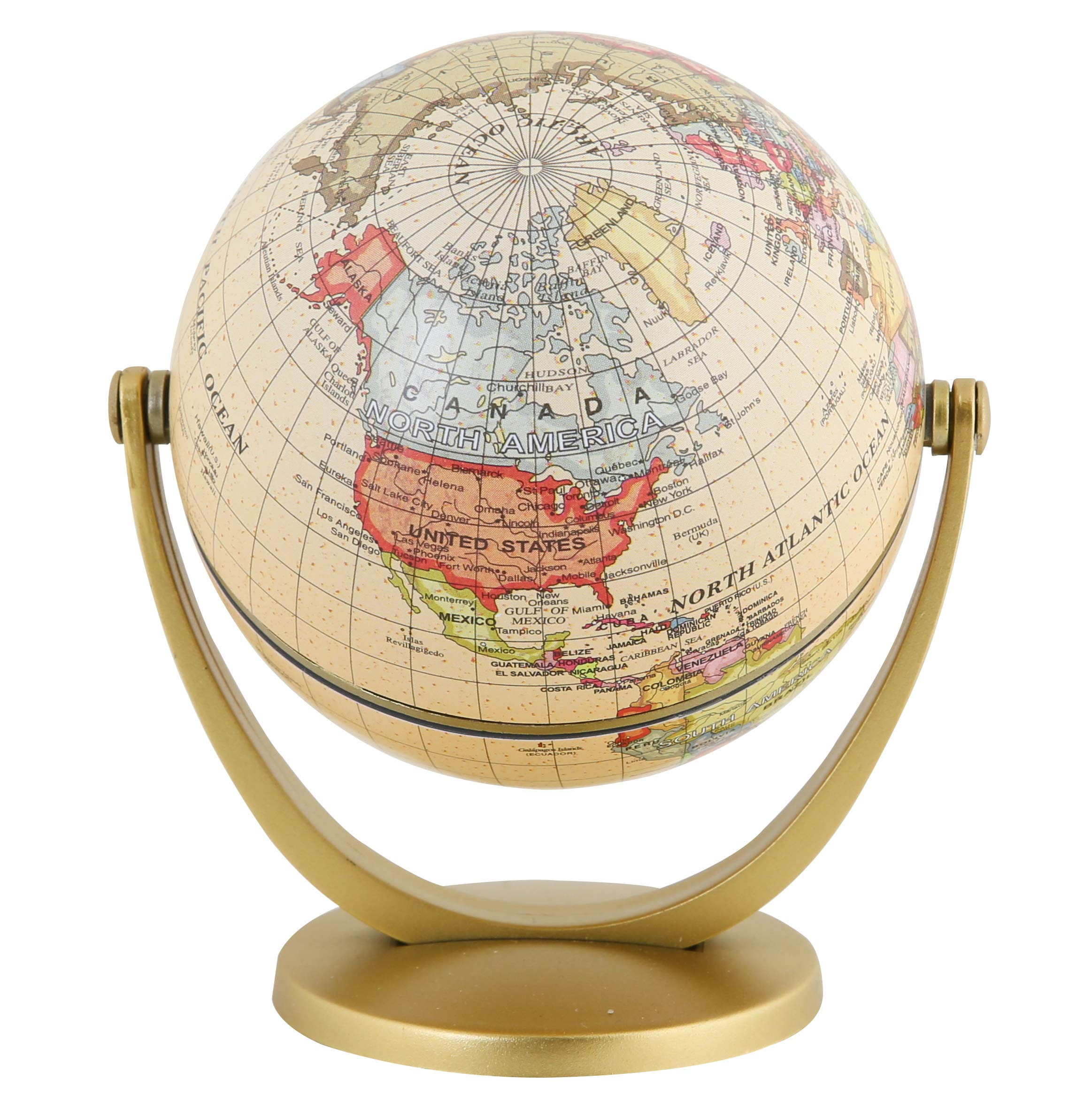 Exerz Mini Antique Globe 4-inch / 10 cm - Swivels in All Directions Educational, Decorative, Unique, Small World, Desktop, Vintage (Mini Antique Globe) by Exerz