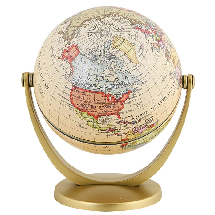 Exerz Mini Antique Globe 4-inch / 10 cm - Educational, Decorative, Unique, Small World, Desktop, Vintage