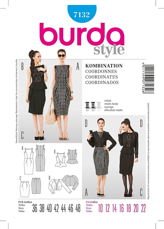 Burda 7132 shift - patrón de costura vestido corto chaqueta talla 36 ...