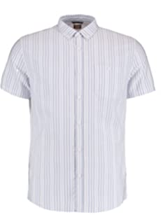 Common People Mens Prom Stripe Shirt - White/blue