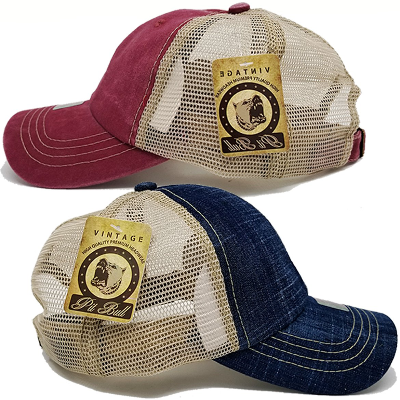 MrKap Baseball Cotton Mesh Pigment Dyed Low Profile Cap Unisex Hat (Denim Blue and Burgundy)