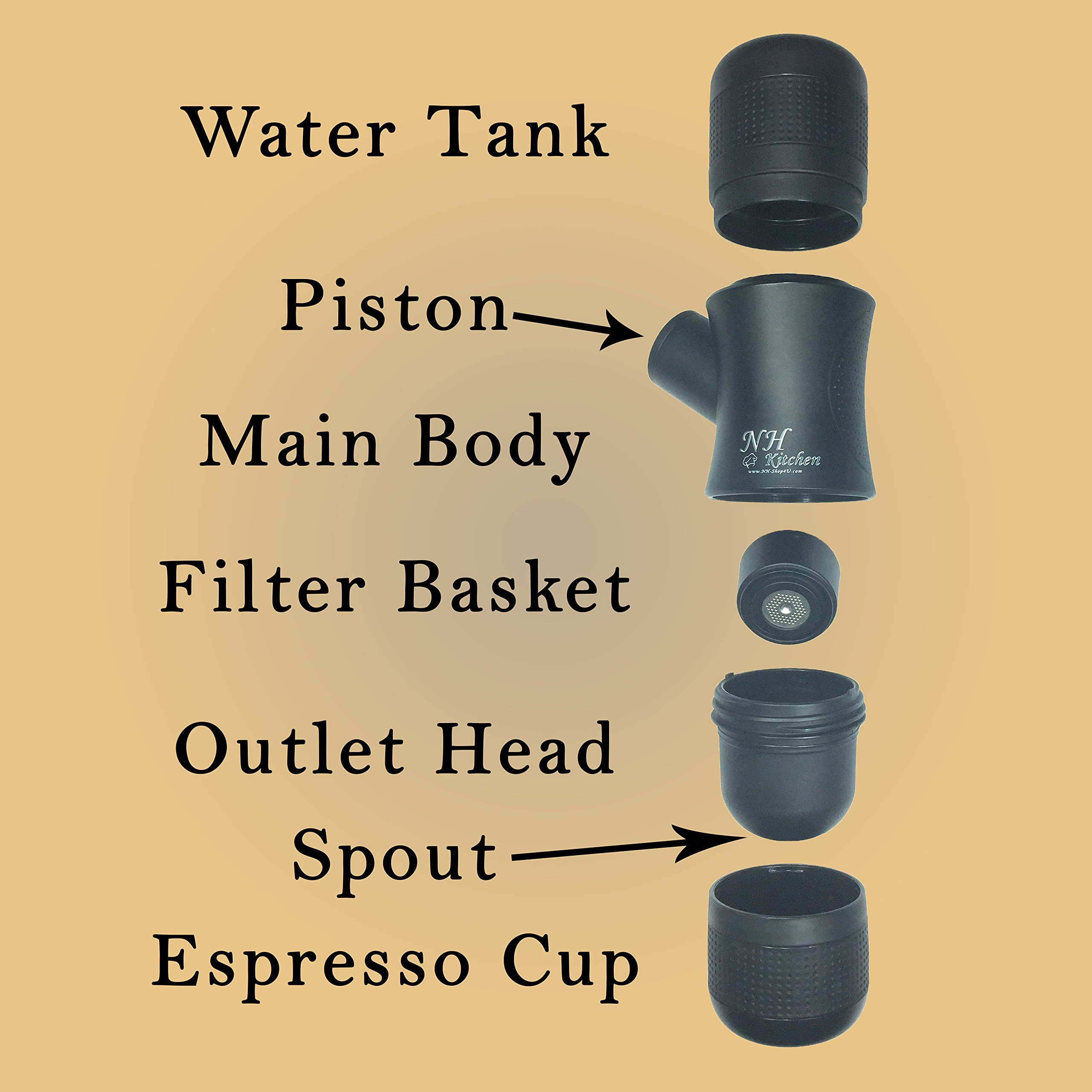 ☕️ Mini Espresso Maker + BONUS! ☕️ Portable Black Compact Manual Coffee Maker, Hand Operated Non-Electric Machine for ESPRESSO ☕️. BONUSES Container for ground coffee ☕️ & Elegant Carry Bag by NH-Kitchen (Image #3)