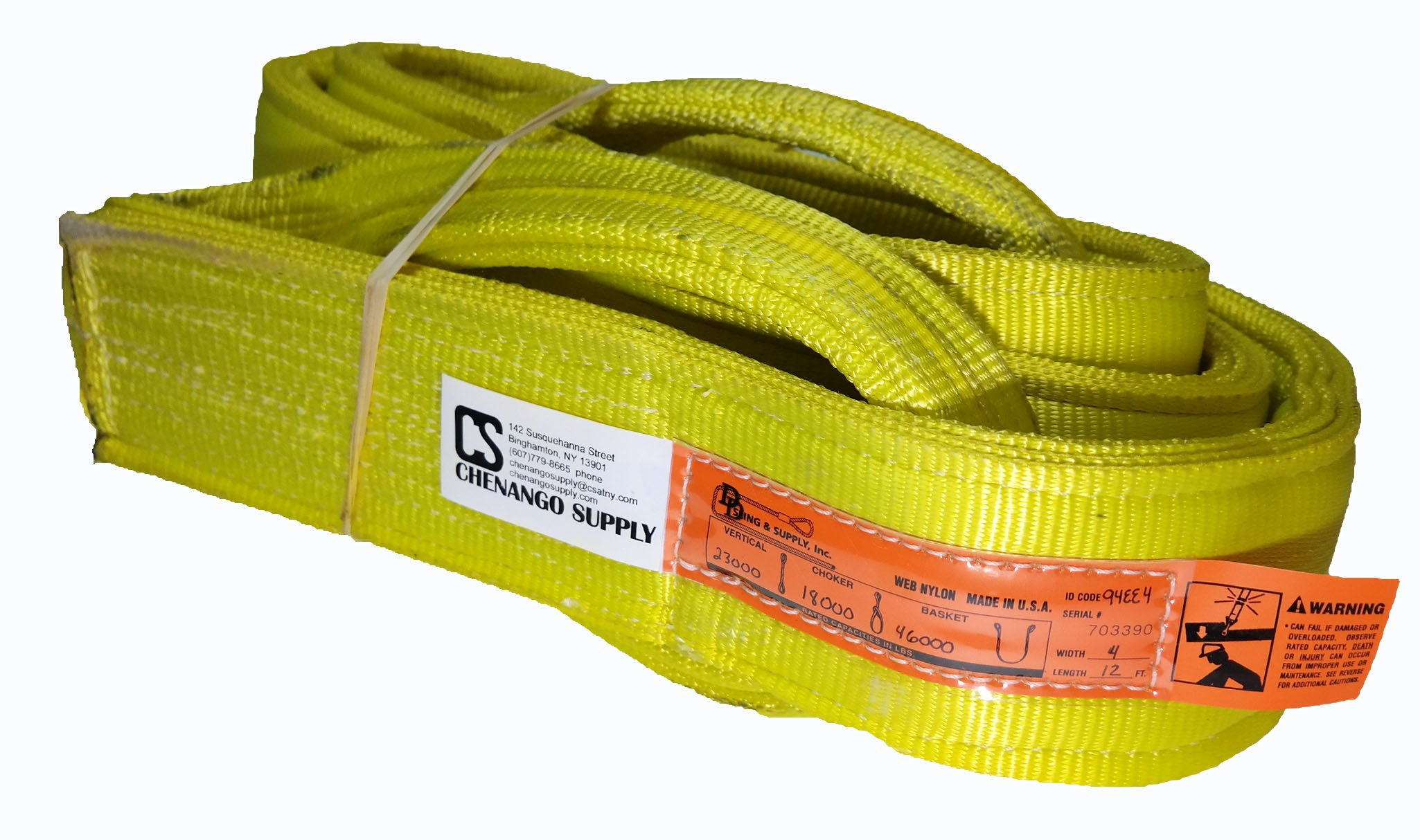 DD Sling. Multiple Sizes in Listing! (Made in USA), 4-PLY 4''x12' Nylon Lifting Web Sling, Eye & Eye, Heavy Duty (900 webbing), 23,000 lbs Vertical, 18,000 Choker, 46,000 Basket Load Capacity (Made In The USA), Multiple Sizes In Listing! (4''x12')