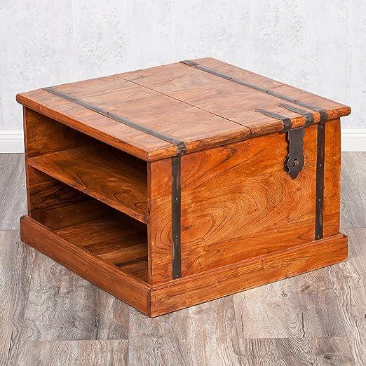 Mesa de centro de palisandro/baúl de 60 x 40 cm natural: Amazon.es ...