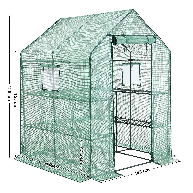 con Porta per arrotolare la Serra SONGMICS GWP12GN 143 x 143 x 195 cm Giardino Verdure per pomodori Serra da Giardino con 10 Ripiani Verde