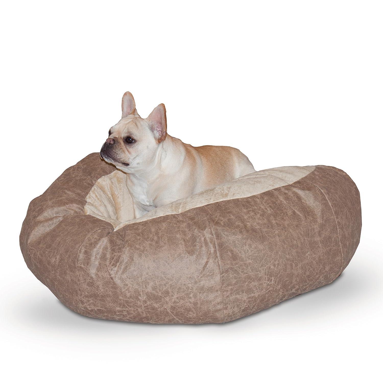 Tan Medium Tan Medium K&H Manufacturing Self Warming Distress Cuddle Ball Bed for Dogs, Medium, Tan