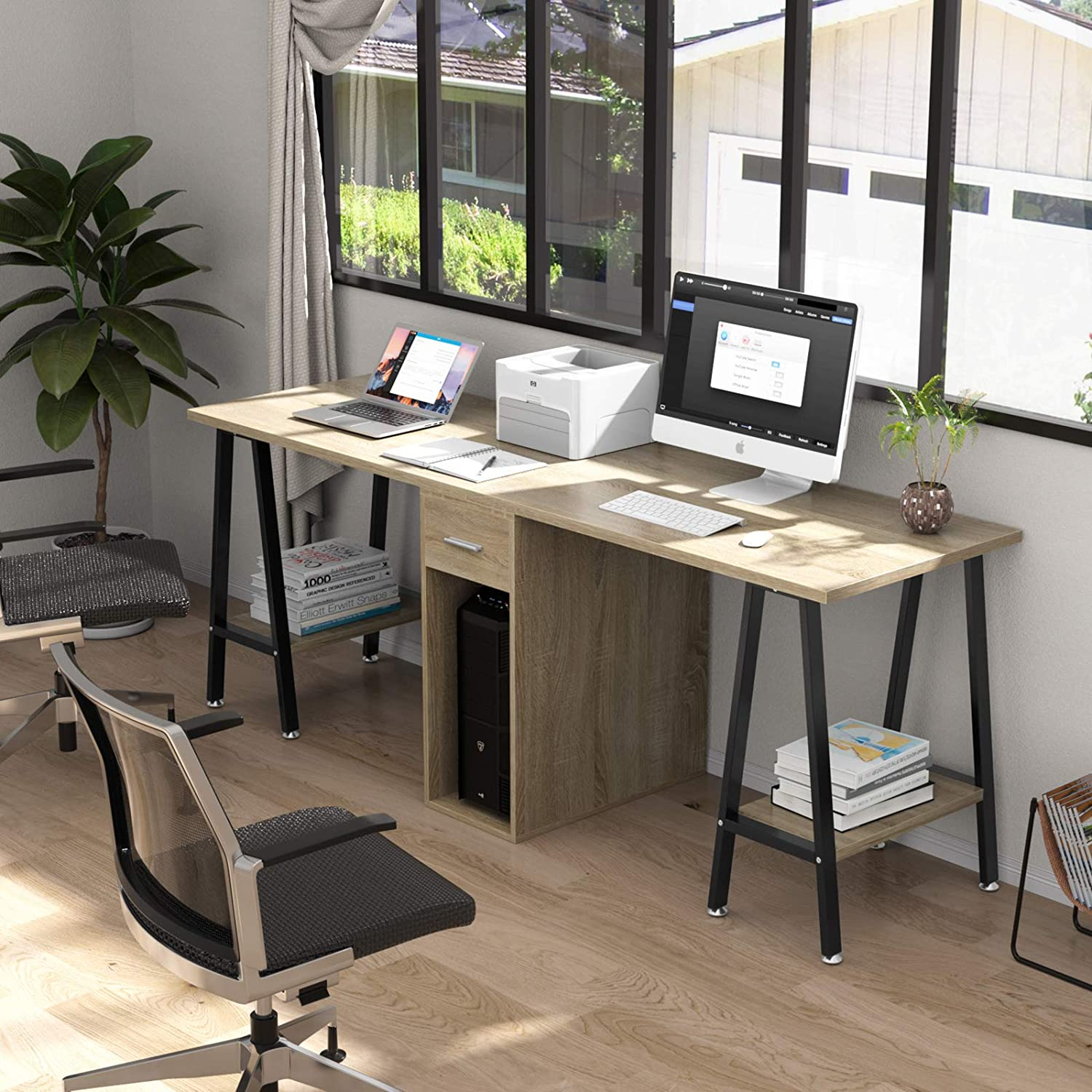 Dewel Two Person Computer Desk With Drawers 78 Extra Large Long Computer Desk Double Workstation Computer Desks With Storage Wood Big Dual Computer Desk Executive Office Desk Amazon Ca Home Kitchen