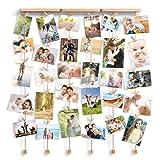 Love-KANKEI SHMILY Hängende Bilderrahmen Collage Fotorahmen Holzbilderrahmen in Wäscheleinenoptik mit 30 kleinen Holzklammern, kreativ