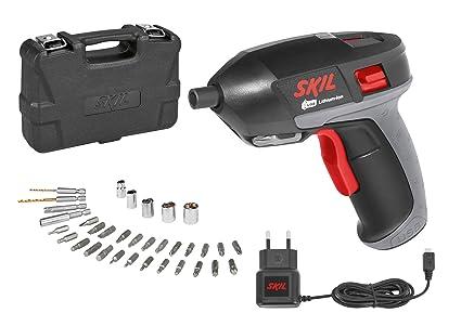 Skil 2636AD - Atornillador con cargador USB (batería 3,6 V, Li-ion, 1,5 Ah, 5 Nm, luz LED, juego de 35 accesorios, maletín)