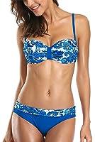 ALove Damen Bandeau Bikini Mit Bügel Push Up Blumen Raffung Bikini Set