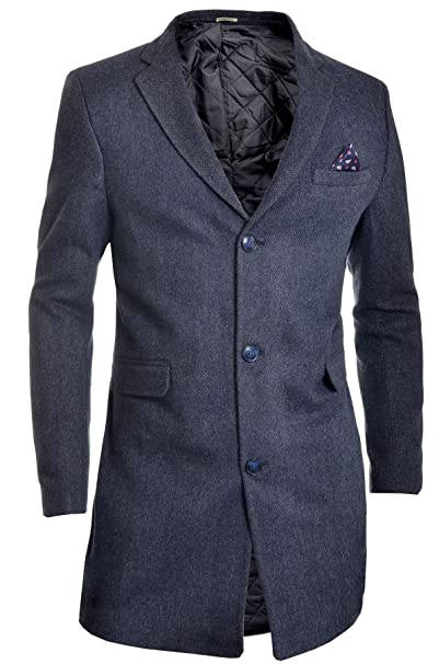 D R Fashion Cappotto da uomo Inverno Nero 3 4 lungo Giacca Paisley a spina  di e8026ee5ad3