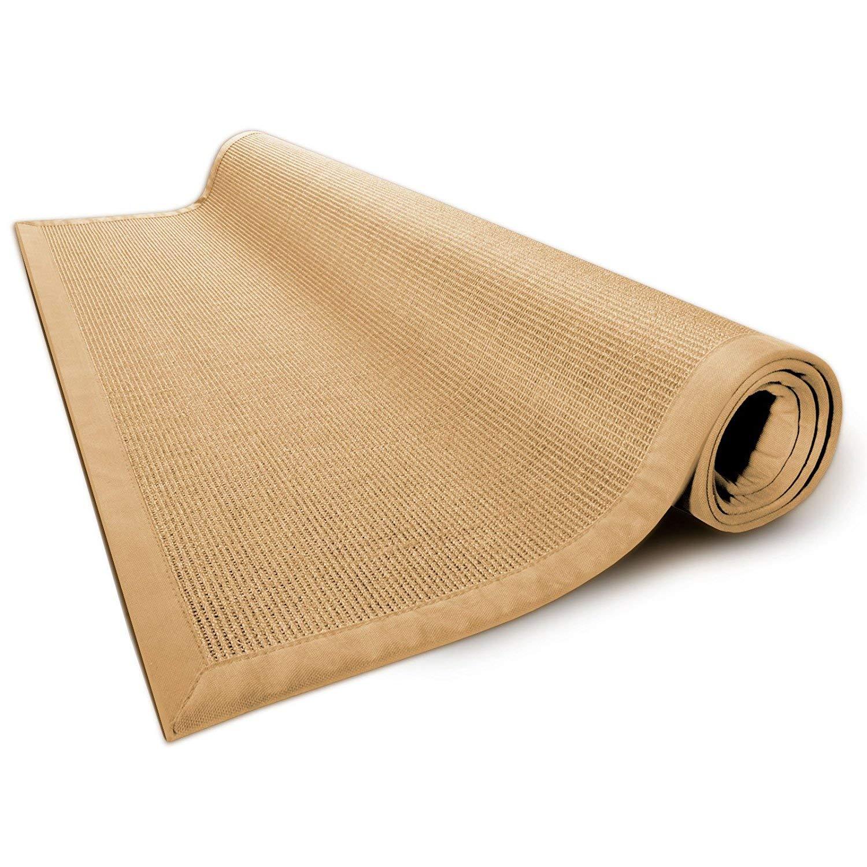 Casa pura® Sisal Teppich aus Naturfasern mit Bordüre aus Baumwolle   Pflegeleicht   Größe wählbar (Natur, 200 x 290 cm)