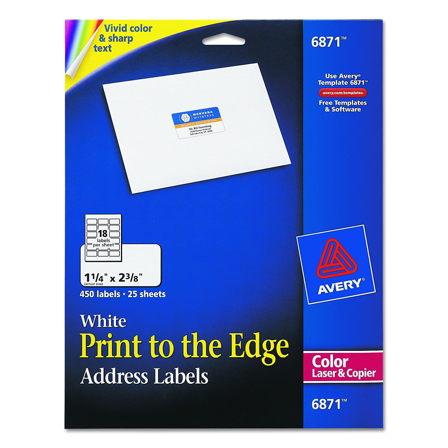 Amazon Avery White Laser Labels For Color Printing 1 4 X 2 3 8 Label 450 Per Pack 6871 Printer Office Products