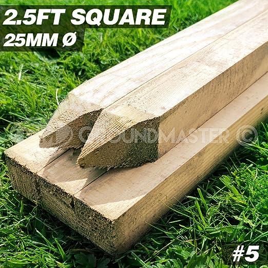 Groundmaster 2, 5 m estacas 750 mm madera de madera árbol de post ...