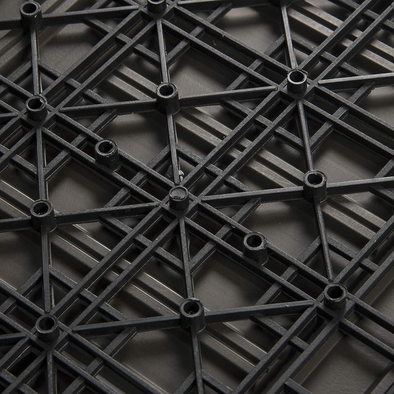 2 m/² EUGAD 22er Set WPC Terrassenfliesen Terrassendielen Holzoptik Coffee 30x30 cm Klickfliese Bodenbelag mit Drainage Rutschfest und Wetterfest Fliese Bodenfliese mit klicksystem
