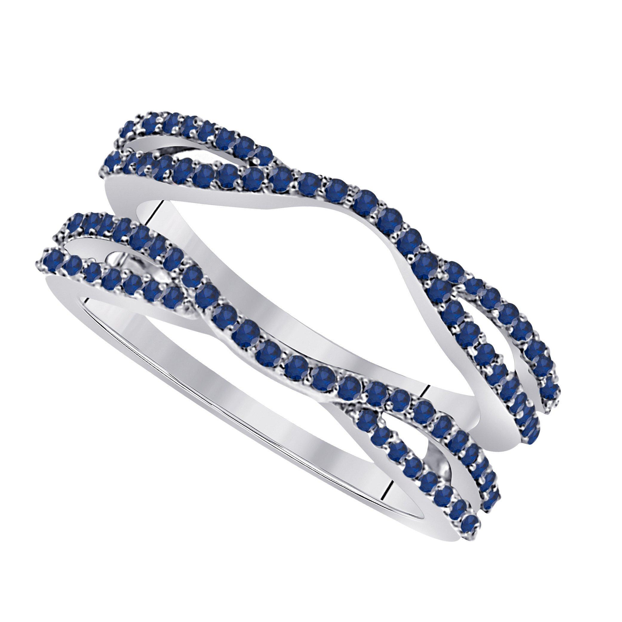 Star Retail 1/2 Ct 14K White Gold Finish Round Cut Lab Created Blue Sapphire Ladies Anniversary Wedding Band Enhancer Guard Double Chevron Ring