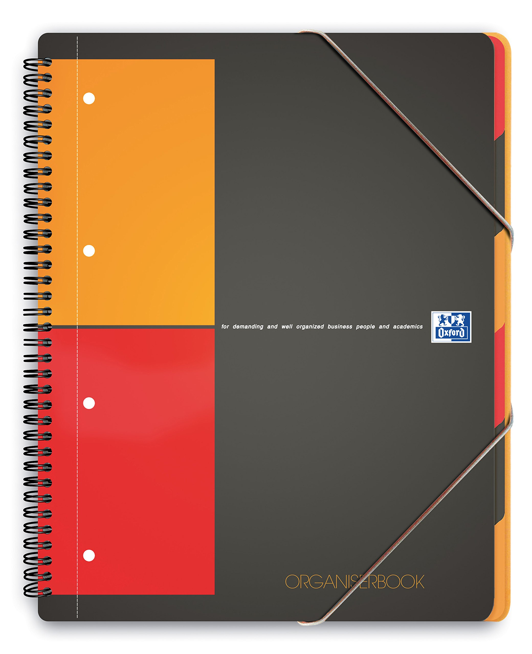 SPIRAL NOTEBOOK: WITH A FOLDER ORGANISERBOOK A4+ 80 PAGES GRAPH PAPER PP OXFORD