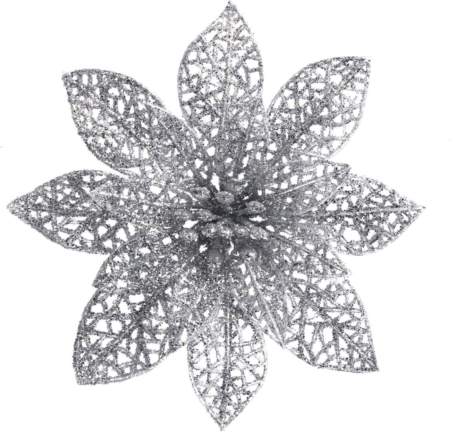 XmasExp 10 Pcs Glitzy Silver Poinsettia Bushes Christmas Tree Ornaments, Glitter Poinsettia Flowers Christmas Decorations