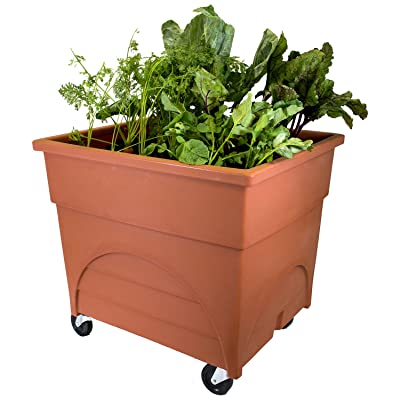 """Emsco Group 2361D Deep 18"""" Planter Area-Includes Mobility Casters City Pickers Root Vegetable Raised Bed Grow Box, Terracotta : Garden & Outdoor"""