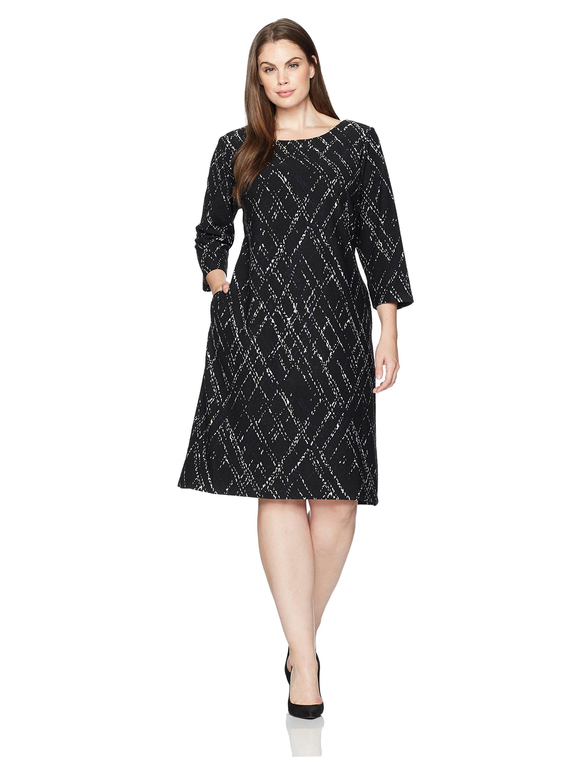 Taylor Dresses Women's Plus Size Matchstick Print Novelty Jacquard Knit Dress, Lapis Ivory/Black, 16W by Taylor Dresses