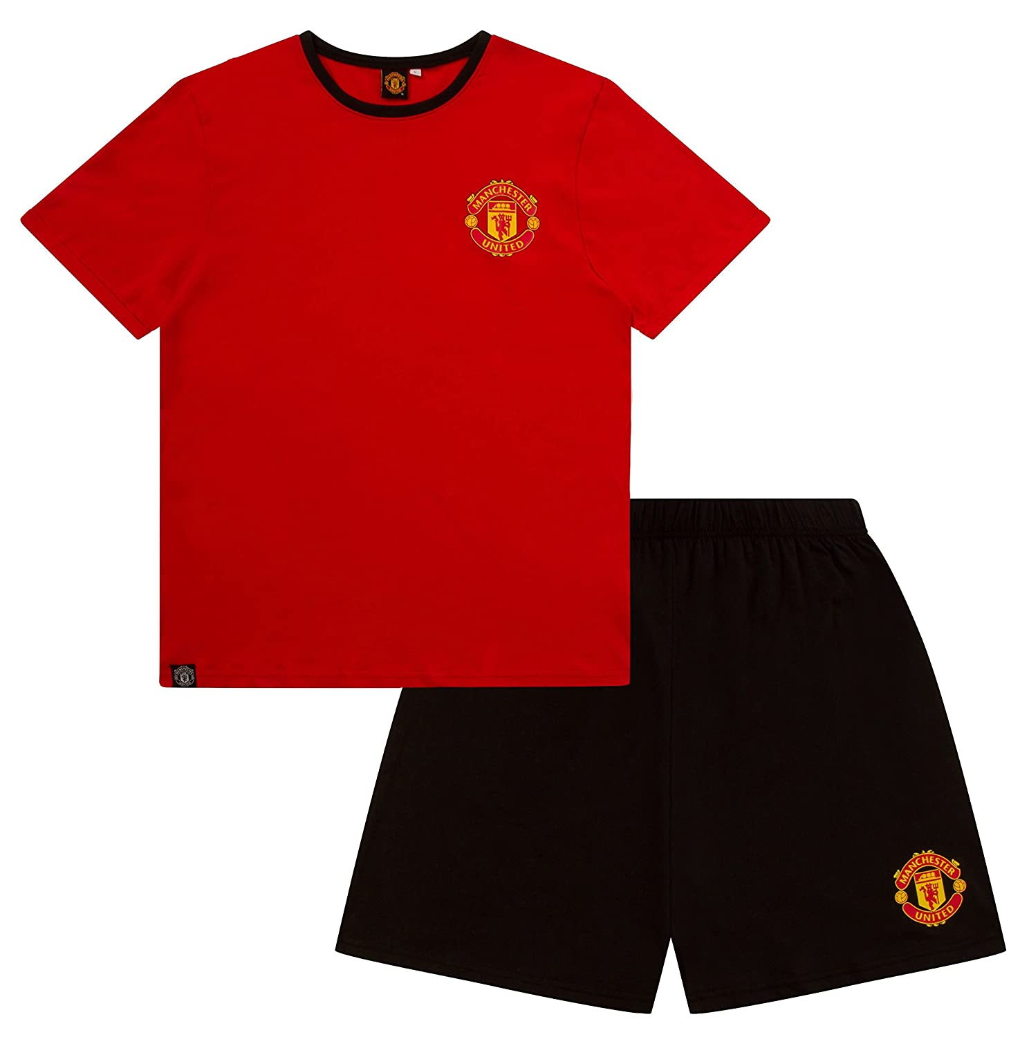 Mens Official Manchester United FC Short Pyjamas MUFC Men's Football Club Pajamas