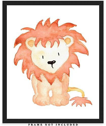 Illustration Print Baby Wall Art UNFRAMED Print Baby Shower Nursery Print Hand Made Kids Room Decor A Lion Plays Accordion