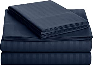 AmazonBasics Deluxe Striped Microfiber Bed Sheet Set - Full, Navy Blue