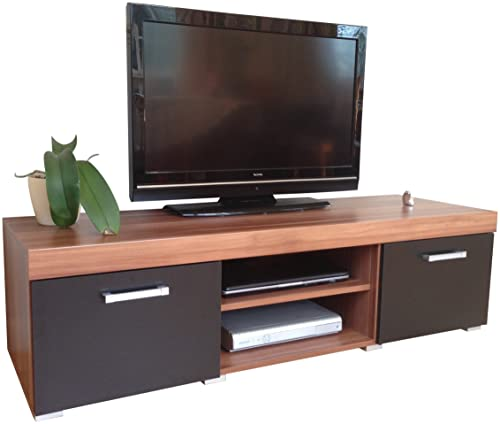White & Walnut Sydney Large 2 Door TV Cabinet 140cm Unit
