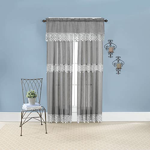 Renaissance Home Fashion Lillian Panel with MACRAM Bands, 55 X 63 , Gray