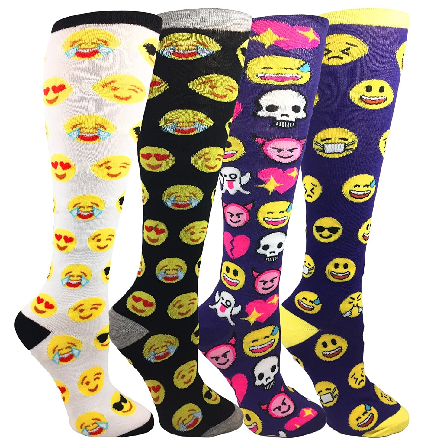 d0c005eb11f MOXY Socks Cute Emoji Party Faces Knee-High 4-Pack at Amazon Women s  Clothing store